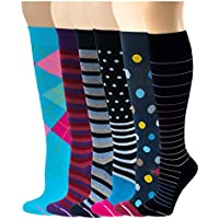 6 Pairs Pack Women Dr Motion Graduated Compression Knee High Socks (Assorted Multi Design)