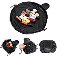 Lazy Cosmetic Bag, ONEGenug Makeup bag, Drawstring Design One-Step Organizer, Cosmetic Pouch for Lazy Ladies Black