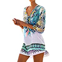 Bestme Women's Print Chiffon Dress Bikini Swimsuit Cover Up Tunic Swimwear Beachwear