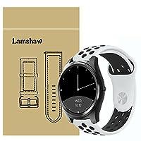 Lamshaw Diggro DI03 バンド, シリカゲルバンド スポーツシリコンストラップリストバンド交換バンド柔らか運動型 対応 Diggro DI03 / Diggro DI03 Plus スマートウォッチ (ブラック+ホワイト)
