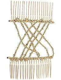 FLAMEER ヘアコーム ヘアクリップ レディース 髪留め パーティー 宴会 伸縮性 ヘアアクセサリー  - ゴールド