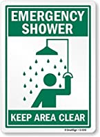 """Hypothesis 40x30cm 警告ポスター ブリキ 看板""""Emergency Shower Keep Area Clear"""" with Graphic"""