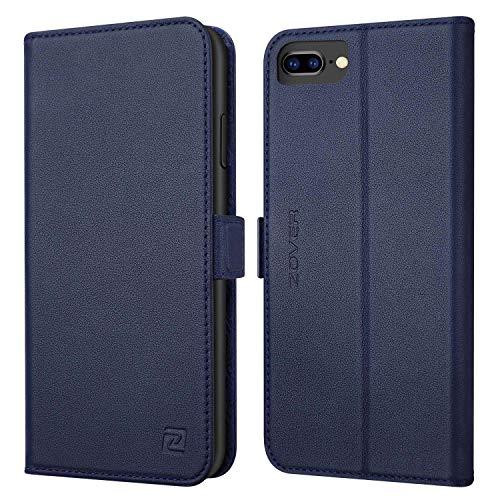 ZOVER iPhone8 plus ケース iPhone7 plus ケース 手帳型 サイドマグネット式 本革なカバー アイフォン8プラス ケース アイフォン7プラス ケース 手帳型 全面保護 スタンド機能 耐汚れ 耐衝撃 カード収納 ギフトボックス(5.5インチ ネイビー)Navy Blue