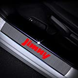 For SUZUKI Jimny Carbon Fiber Door Sill Protector Scratch Door Sill Guard 4D welcome Pedals Guards Threshold Sticker Red 4Pcs