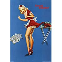 Fresh Lobster – Vintage Pin Up Waitress Girl Pinched 36 x 24レトロアートプリントポスター