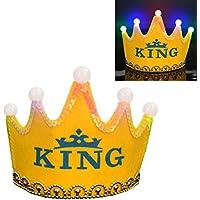 (アワンキー) Aoneky 誕生日 パーティー 王冠 キング ティアラ 飾り お祝い 演出 LED 子供用 可愛い  (イエロー)