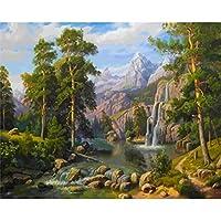 山の森の滝装飾アートクラフト刺繍大人シングルポイントクイックポイント5d絵画番号キットウォールステッカーフルドリルラウンドダイヤモンド30×40センチ