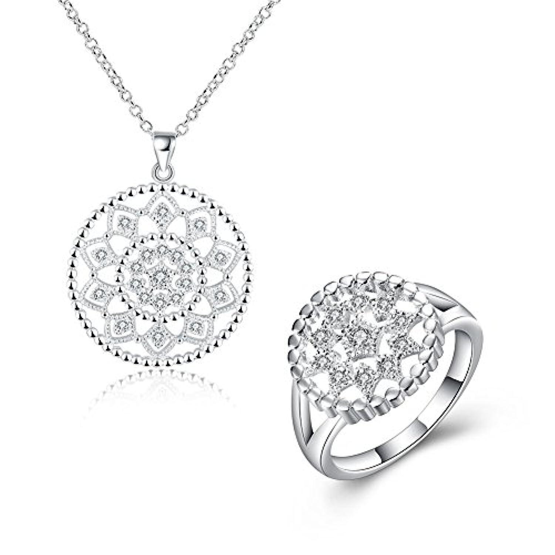 lureme ファッションネックレス中空円形のリングジュエリーセット(js000667)