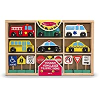 Melissa & Doug Learning Toy 15-piece Wooden Traffic Signs and Vehicles pleyset Toy for Kids