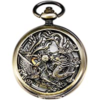 TREEWETO Mechanical Skeleton Pocket Watch Bronze Lucky Dragon + Gift Box