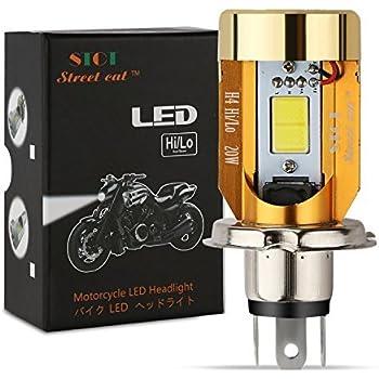 ヘッドライト Street Cat H4/HS1 バイク用ledヘッドライト 12V-80V 20W 対応 Hi/Lo切替 M4 冷却ファン内蔵