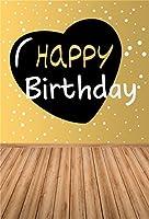 csfoto 3x 5ft Happy誕生日背景ホワイトドット誕生日パーティーお祝い装飾ギフトプレゼント写真撮影背景木製床イエローフォトスタジオ小道具Artistic Portrait壁紙
