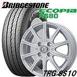 【アルミ付低燃費タイヤ4本セット】 BRIDGESTONE 145R12 6PR ECOPIA R680 12X4.00B 4穴 PCD:100 TGR-SS10