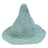 ノーブランド品  全9色 子供 キッズ とんがり帽子 幅広い ビーチ 麦わら 帽子 バイザー サンハット キャップ - グリーン