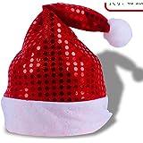 HuaQingPiJu-JP クリスマスデコレーションスパンコールクリスマスハット_Red