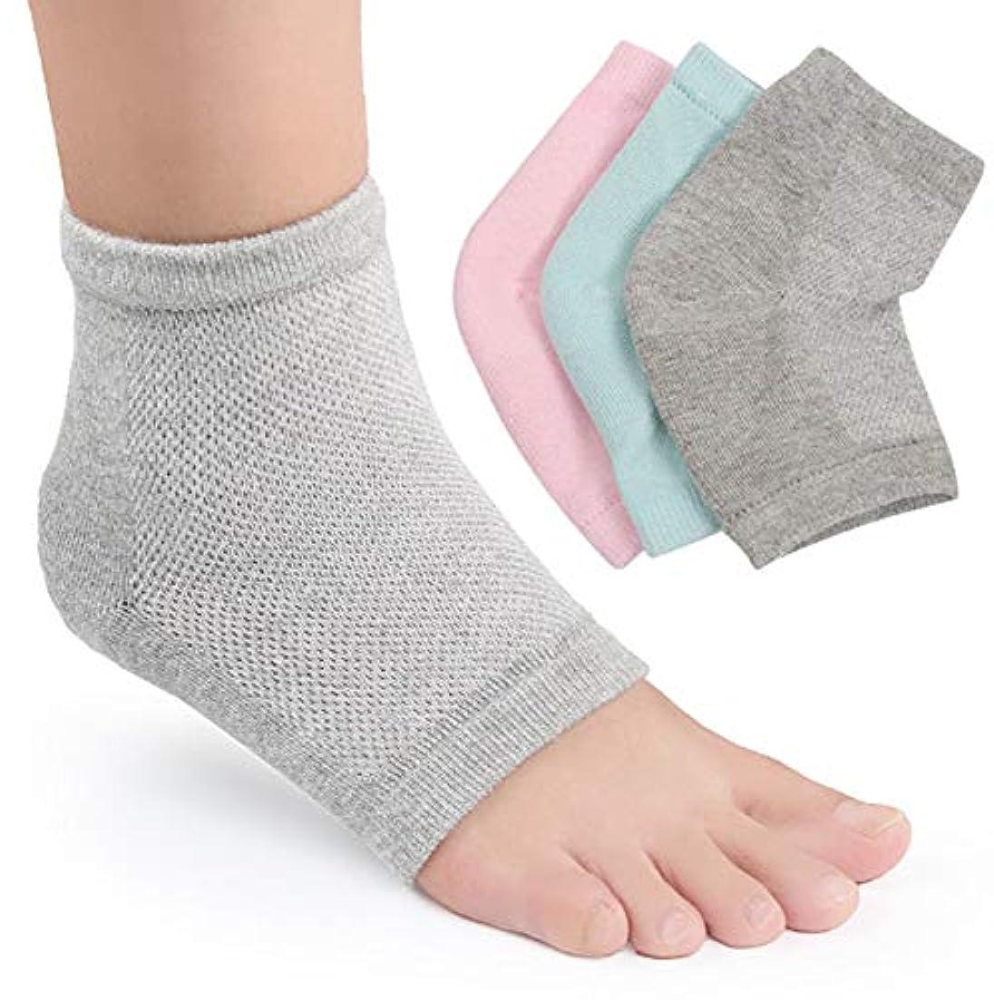 線形含むしかしながらかかと 靴下 かかとケア つるつる 靴下 かかと ひび割れ ジェル 靴下 角質 ケア 保湿 美容 角質除去 足SPA 足ケア 男女兼用 3足セット(グリーン+ピンク+グレイ)