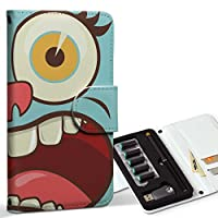 スマコレ ploom TECH プルームテック 専用 レザーケース 手帳型 タバコ ケース カバー 合皮 ケース カバー 収納 プルームケース デザイン 革 ユニーク 水色 キャラクター イラスト 008107