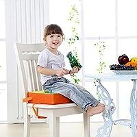 Domybest ベビーチェアパッド ダイニングチェアクッション 子供座席 ピアノ座布団 食事補助 高密度スポンジ 調整可能 カバー脱ぐ可能 オレンジ
