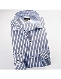 RSD696-006 (スタイルワークス) メンズ長袖ワイシャツ カッタウェイ ワイドカラー ストライプ | 青