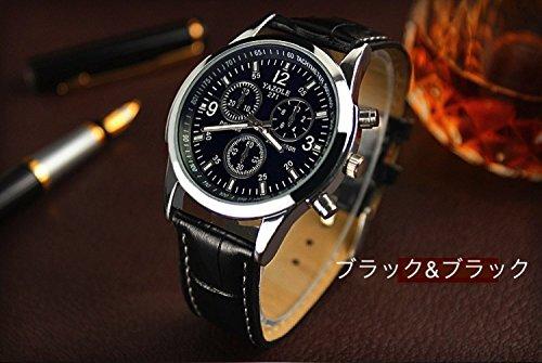 【ACI-AAE】選べる 4 種類 メンズ クロノグラフ 腕 時計 高級 レザー おしゃれ スーツ ベルト ビジネス 軽量 革 ウォッチ シンプル    【 BOX & 時計拭き 付 】 (ブルー&ブラック)