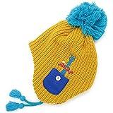 帽子 子供用 耳あて付き ニット帽 フリース BEADYGEM 日本製 キッズ Animalリブボンボン耳あて付きニット帽 黄金