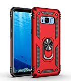 Asuwish Galaxy S8 ケース SC-02J SCV36 対応 リング スタンド 付き 耐衝撃 GalaxyS8 ギャラクシーs8 ギャラクシー S8ケース 背面 カバー レッド 画像