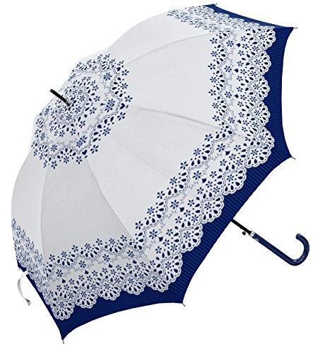 ミクニ カットワーク レース 全3色 長傘 ジャンプ 日傘/晴雨兼用傘 ホワイト 8本骨 60cm 遮光 UVカット 97%以上 グラスファイバー骨 シルバーコーディング加工 MK616200