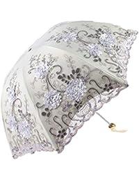〔バリューガーデン〕 折りたたみ日傘 晴雨兼用 完全遮光 立体的な花柄レース (グレー)