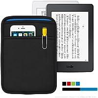 Kindle Paperwhite 用 JustFit スリーブケース(ブラック&ブルー) iPhoneやイヤホンなどが収納出来るポケット付・専用設計だからジャストフィット!(マンガモデル・Kindle 4/5/7・Voyageにも対応)