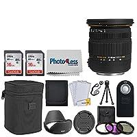 シグマ17–50mm f/2.8EX DC OS HSMズームレンズfor Canon DSLRs with APS - Cサイズセンサー+ 32GBメモリカード+ 77mmフィルタ+リモートコントロール+三脚+メモリカード財布+ photo4less布+レンズキャップホルダー