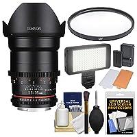 Rokinon 35mm T / 1.5DS Cineレンズwith UVフィルタ+ビデオライト+キットforビデオDSLR Olympus/Panasonic Micro 4/ 3カメラ