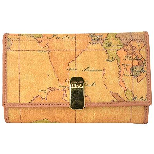 (プリマ・クラッセ)PRIMA CLASSE プリマクラッセ 財布 三つ折り 財布 小銭入れあり W002 6000 NATURAL Geo Classic 世界地図柄 マップ柄 ベージュ系 メンズ レディース サイフ ウォレット [並行輸入品]