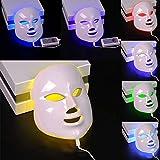 7色LEDフェイスマスク、7色LEDスキン光線療法器具、健康的な肌の若返りのためのレッドライトセラピー、アンチエイジング、しわ、瘢痕化,White