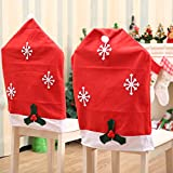 AstiVita Christmas Decor Chair Cover Santa Hat (4-Piece Set) Xmas Seat Covers I Christmas Decorations