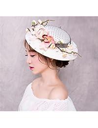 Fascinator ヴィンテージメッシュリリーガーデンハットブライダル帽子キャップロイヤル (ホワイト)