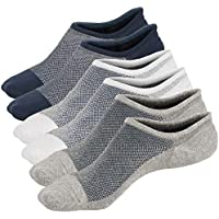 Toes Home Mens No Show Low Cut Non Slip Socks - 3/6 Pack Casual Crew Ankle Mesh Knit Cotton Socks