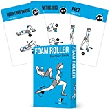 Foam Roller Exercise Cards, Set of 62 :: Guided Stretching & Recovery Workout Home Gym :: Illustrated Fitness Flash Cards 50 Exercises Men & Women :: Large, Durable, Waterproof