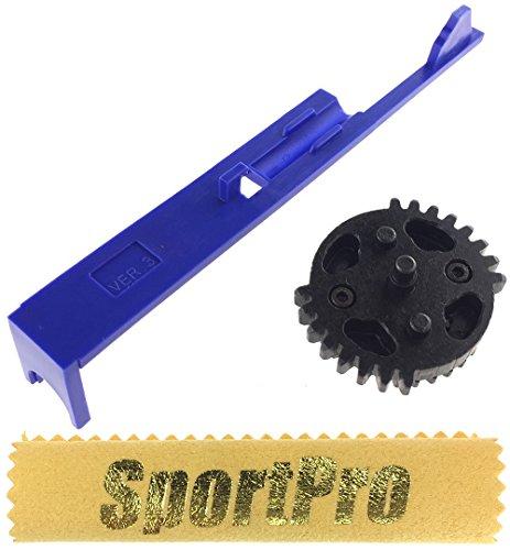 SHS製 313 電動ガン Ver 3用 ダブルセクターギア タペットプレート付 メタル/プラスチック製 - ブラック 【SportPro クリーニングクロス付】