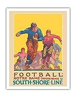 フットボール - ノートルダム大学インディアナ大学 - サウスショアライン、サウスベンド駅 - ビンテージな鉄道旅行のポスター によって作成された オスカー・ラーベ・ハンソン c.1926 - アートポスター - 28cm x 36cm