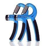 2組セットハンド グリップ 握る器具 テニスグリップ 握力 鍛えるフィットネス 5-60kg器具 トレーニング リハビリ用器具男女兼用 (ブルー)