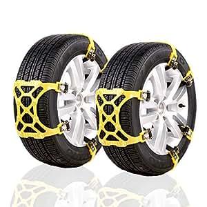 KIYOYO 軽自動車用 非金属タイヤチェーン 業界初モデル 6pcsセット 取り付けカンタン 分割式ベルト 固定 ジャッキアップ不要 車移動不要 スタッドレス TPU素材 スノーチェーン 145mm-185mmまでタイヤに対応