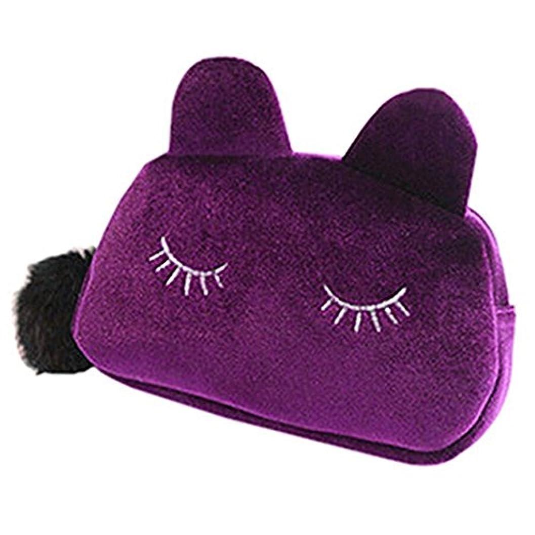 朝の体操をするシェル始まり猫耳 化粧 コスメ ポーチ 小物入れ ペンケース かわいい 猫 ねこ にゃんこ メイクポーチ レディース