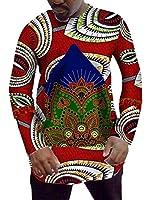 Keaac 男性DashikiシャツアフリカプリントロングスリーブグラフィックトップスクルーネックTシャツ 3 M