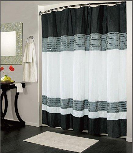 ブラックホワイト高級生地のシャワーカーテン、バスルームアクセ...