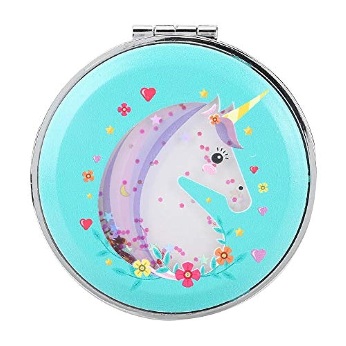 明示的にポップ六レトロスタイル 可愛い馬 子供 ポケットミラー 両面折りたたみ 化粧 ミニ化粧鏡 拡大鏡 2倍