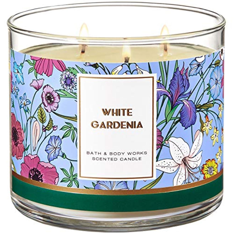 靴下猛烈な少しBath and Body Works 3 Wick Scented Candle White Gardenia 430ml