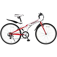 Switzsport-Tech(スウィツスポート-テック) SIERRE-II〔シエルII〕 クロスバイクタイプ26インチ折りたたみ自転車 〔SHIMANO Tourney 7段変速〕- 【White/Red】 MDL31015