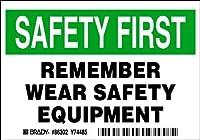 Brady 86302 Equipment/Oem Labels 3 1/2 Height x 5 Width Black/Green on White Legend Remember Wear Safety Equipment (5 per Package) [並行輸入品]