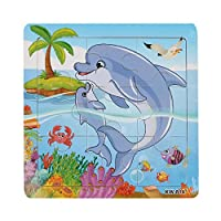 AutumnFall ®木製Kids Jigsaw Toys For Children教育と学習パズルおもちゃDolphin 2