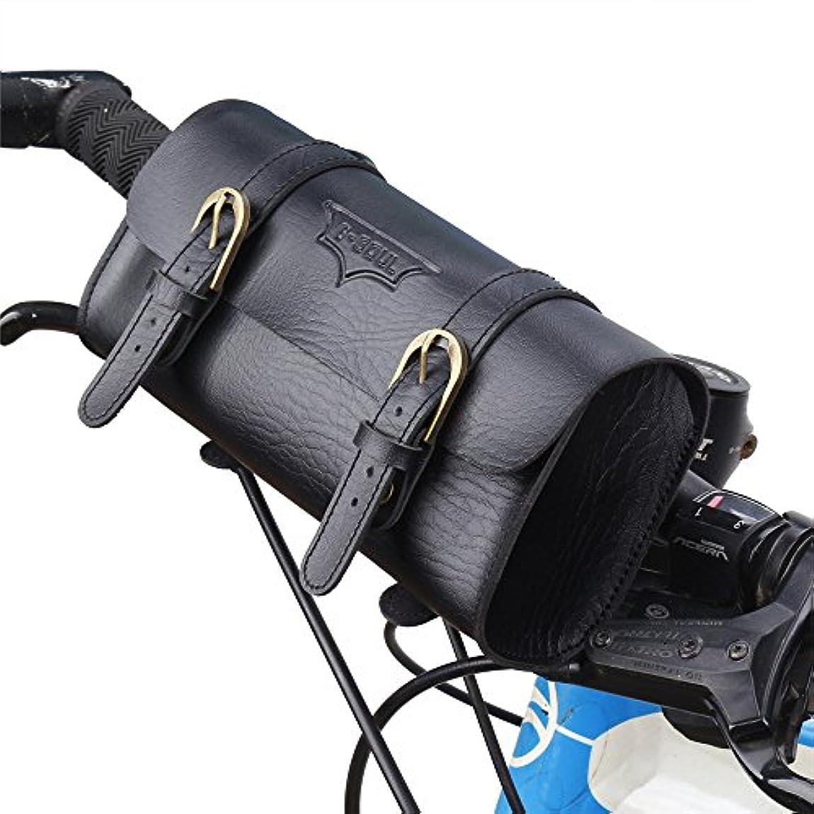 洞察力のあるより多い作り自転車シートパックバッグ 革バイク袋/マウンテンバイクのハンドルバー袋、レトロの方法延長袋はバックパックとして使用することができます 自転車サドルバッグ (色 : ブラック)